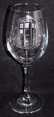 New Etched Dr Who Tardis Wine Glass - Can be gift boxed (WF3)