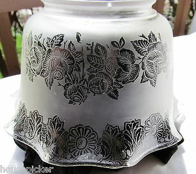 Set/3 ATQ Victorian Floral Banded Ruffled Etched Glass Lamp Shade Oil/Gas Light