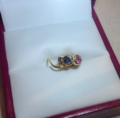 Brand New Zamels 9ct Gold Charm Bead Pink & Blue Sapphire