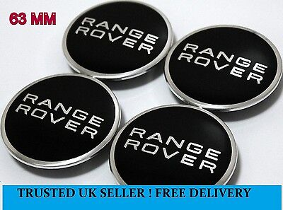 Range Rover 63mm Centre Caps with 50mm Clips Alloy Wheel Hub Badges Decals --