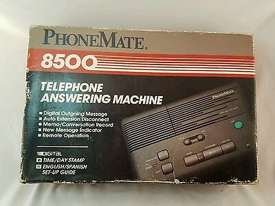 1993 PhoneMate 8500 Telephone Answering Machine with Box and Manual