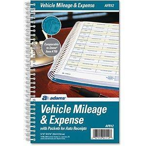 Adams Vehicle Mileage & Expense Journal (AFR12)64 Pages 5-1/4 x 8-1/2