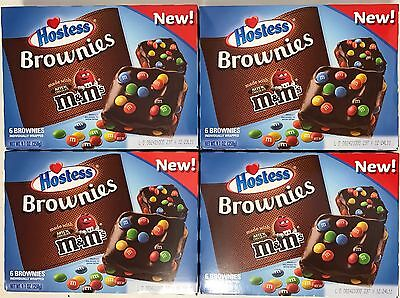 4x 258g BOXES OF HOSTESS (MAKERS OF TWINKIES) CHOCOLATE BROWNIES MILK CHOC M&M'S