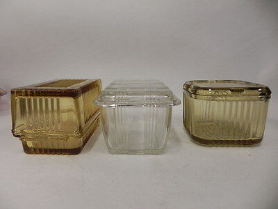 Lot Of 3 Vintage Glass Covered Refrigerator Dishes Two Amber One Clear Ribbed