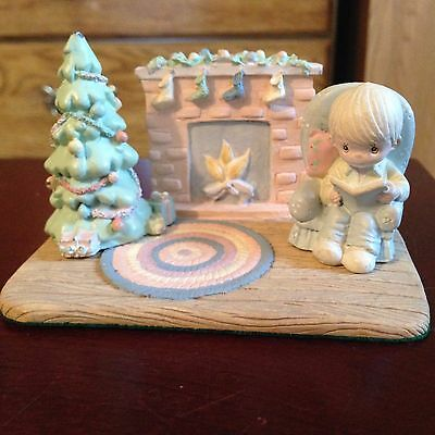 1990 Precious Moments 3 Piece Magnetic Fireplace Scene