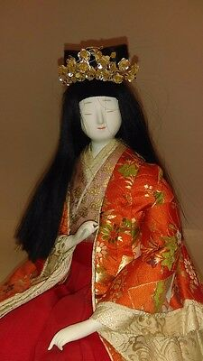 Vintage Asian Porcelailn  Doll with Silk embroidered dress