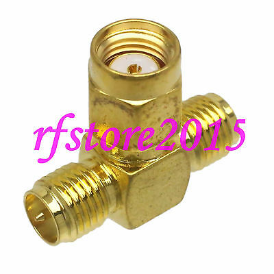 1pce Adapter Connector RP-SMA male to 2x RPSMA female triple T for Wifi Antennas