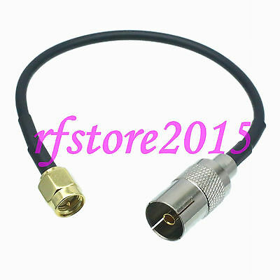 Cable RG174 6inch IEC PAL DVB-T female jack to SMA male plug RF Pigtail Jumper
