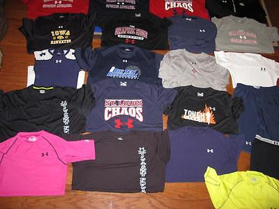 Lot Of 21 Adult Mens Under Armour Shirts Heatgear Tees Shorts Loose Fit Large Xl