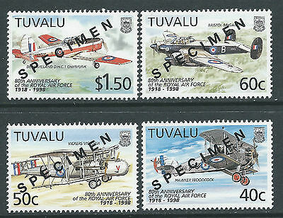1998 TUVALU ROYAL AIR FORCE 80th ANNIVERSARY SET OF 4 MINT MNH SPECIMEN OVPT