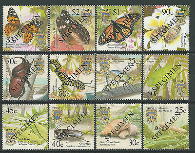 2001 Tuvalu Insects Complete Set Of 12 Mint Mnh With Specimen Overprints