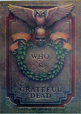 *** THE GRATEFUL DEAD *** & *** THE WHO*** 1976 concert poster Oakland Stadium