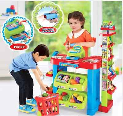 Kids Toy Supermarket Set w  food, a shopping cart, money and a cash register