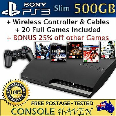 (PS3) Sony PlayStation 3 500GB Slim Console Bundle with 20 Games & Controller