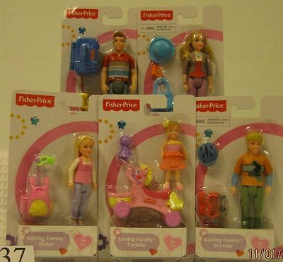 Fisher Price Loving Family Figures Dad, Mom, Brother, Sister, Toddler ~NEW~