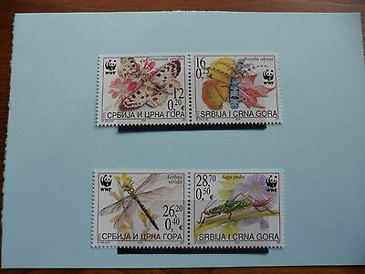 Serbia and Montenegro Stamps, 2004, Butterflies, SG58-61, Mint never hinged
