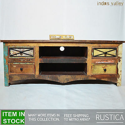RUSTICA Reclaimed boat Timber wood entertainment TV unit lowline plasma stand M