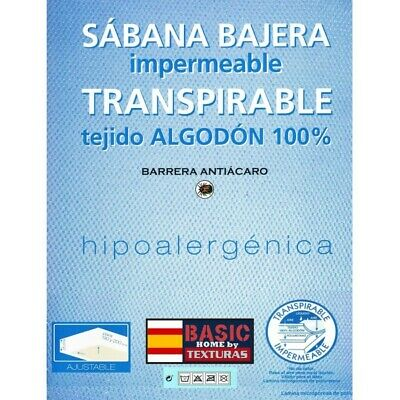 TEXTURAS HOME - Sábana Bajera Adaptable IMPERMEABLE Y TRANSPIRABLE Tejido Algod