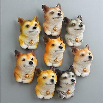 8pcs New Lovely Welsh Corgi Head Model Fridge Magnets Action Figure Kid Toy Gift