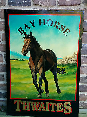 "Vintage English ""Bay Horse"" Equestrian Hand Painted Double Sided Pub Sign"