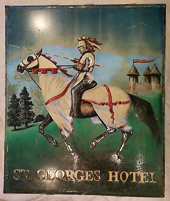 """Vintage English """"St George's Hotel"""" Pub Sign with Castle & Knight on His Horse"""