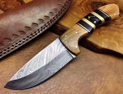 TITANs Handmade Couteau de chasse Damas Lame fixe Damascus Camping Knife 2159-H
