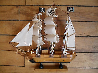 """Wood pirate ship full sails 9"""" high by 9"""" long"""