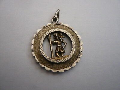 Good Vintage Double Sided Sterling 925 Silver St Christopher Pendant Charm
