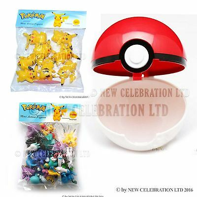 24 Assorted Mini Action Pokemon Toys 8 Yellow Pikachu with 1 Red Pokemon Ball