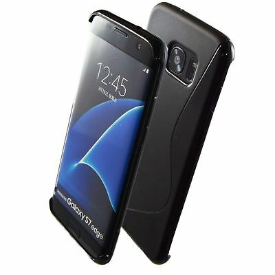 Ultra Strong S-line Wave TPU Gel Silicone Case Cover For Samsung S7 Edge - Black