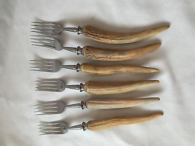 Stainless Steel Forks Set Of 6 With Faux Horn Handle