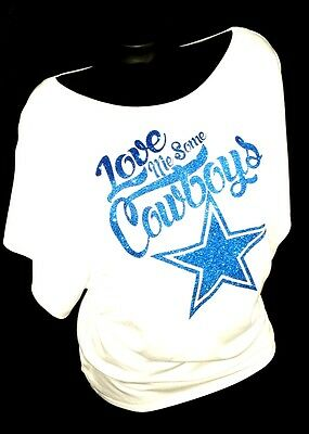 LOVE ME SOME DALLAS COWBOYS! White Flowy Draped Sleeve Dolman Tee. Up to 2XL