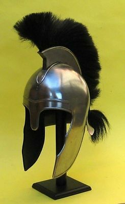 "Troy Armor Helemt With Black Plume 17"" Medieval Knight Armor Gladiator Helm"
