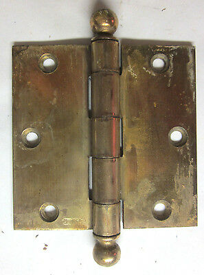 "1 Antique Stanley Square 3-1/2"" Brass Plated Mortise Door Hinge Ball Tip Finial"