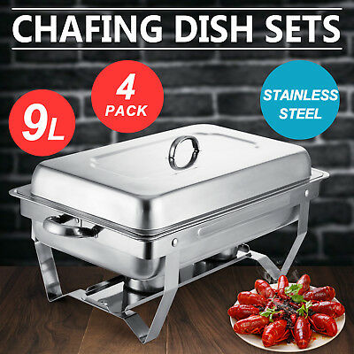 4 Pack Chafing Dish Sets Buffet Catering 9 Quart Stainless Steel Food Warmer