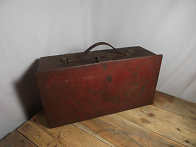 Antique Steel Suitcase Bank Bankers Deposit Box with Leather Handle Sprung Clasp