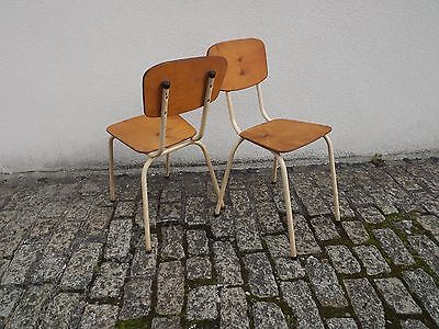 Vintage Pair Cream School Chairs Metal Frame With Plywood Tops