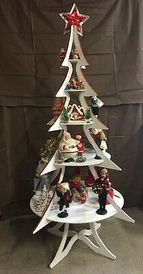 6 Ft Christmas Tree Display Shelves Wood Artificial Collections Baking Craft