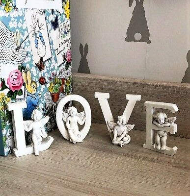 Home Decoration White Love Cherub Angel Letter Nursery Ornaments Wedding Chic