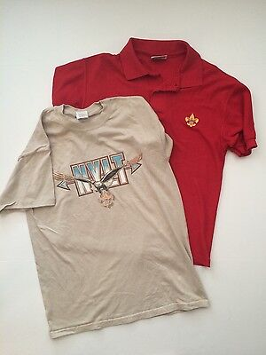 Lot of 2 BOY SCOUTS Shirts M Red Polo BSA Fleur-de-lis logo embroidered NYLT