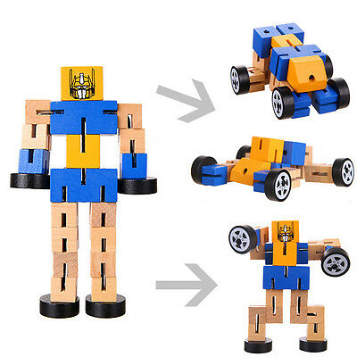 Handmade Wood Transformers Cube Wooden Robot Car Puzzle
