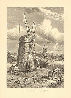 NY. Grist Windmills At East Hampton, Farm Scene, Vintage 1874 Antique Art Print