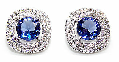 Sterling Silver Tanzanite And Diamond 6.4ct Cluster Earring (925)