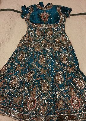 Womens fully embroidery STUNNING  anarkali  stone work blue/orange size small