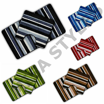 2 Piece Luxury Stripe Printed Non Slip Large Bath Mat~ Pedestal Bathroom Mat Set