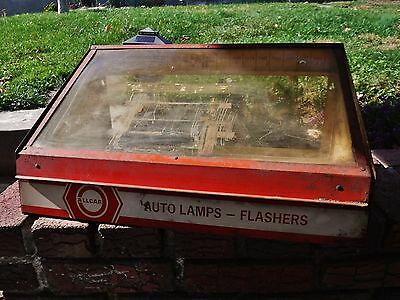 Vintage Counter Top Display Tin Cabinet Automotive Lamps & Flashers
