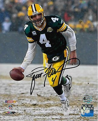 Brett Favre Signed Autographed 8x10 Photo Green Bay Packers BF Holo Snow Flip