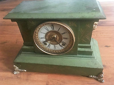 "ULTRA RARE ANSONIA New York Metal Green CLOCK ""Yes Green"" 19th Century Mantle"