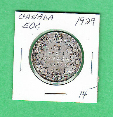 1929 Canada - 50 Cents Silver Coin - VG - George V