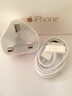 100% Genuine Apple 5W Mains Wall Charger Plug + iPhone 4 4S iPad 1/2/3 USB Cable
